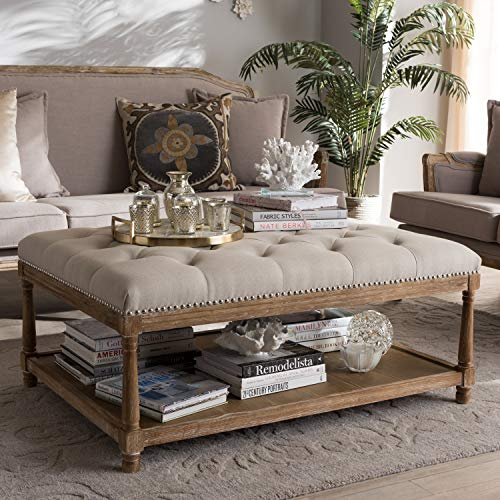 Baxton Studio Carlotta French Country Weathered Oak Beige Linen Rectangular Coffee Table Ottoman