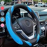 Funda Volante Coche Cuero - Sportage Funda Volante Universal Azul 37-38cm, Antideslizante Funda Volante Transpirable, Azul