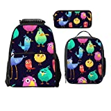 SARA NELL Angry Birds Pattern Game Parrots And Exotic Baby Boys Girls Backpack Daypack Set 3 Pieces School Bookbag Lunchbox Pencil Bag