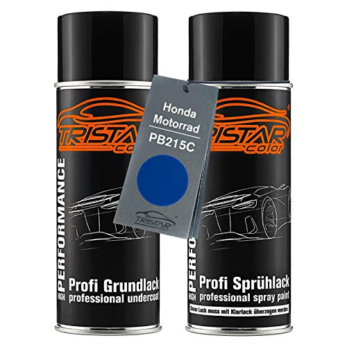 TRISTARcolor Motorradlack Spraydosen Set für Honda Motorrad PB215C Candy Tahitian Blue Grundlack Basislack Sprühdose 400ml
