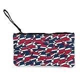 1 paquete de lona, estuche de cosméticos, bolsa de maquillaje, bolsa de dinero con diseño de bandera de República Dominicana