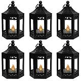 Vela Lanterns Decorative Mini Candle Lanterns for Decor with Flickering LED Tea Light Candle, Batteries Included, Black, Set of 6