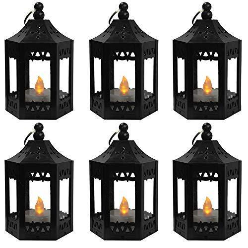Vela Lanterns Mini Candle Lantern with Flickering LED Tea Light Candle, Batteries Included, Black, Set of 6
