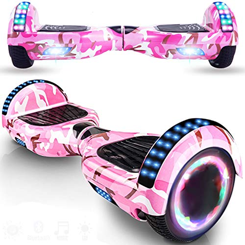 Magic Vida Hover Board 6,5 pollici Bluetooth potenza 700 W con due barre LED giropode passo caro auto-bilanciamento di buona qualità per bambini e adulti (rosa militare)