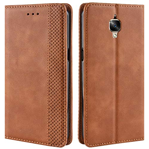 HualuBro Funda OnePlus 3 / OnePlus 3T, Carcasa de Protectora Cuero PU Billetera Cartera Plegable Funda [Ranuras de Tarjeta] Flip Leather Case Cover para One Plus 3 / OnePlus 3T (Marrón)