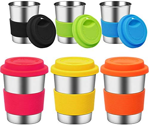 Ruisita 6 Pack 8 Ounce Stainless Steel Cups with Silicone Lids and Sleeves Unbreakable Drinking product image