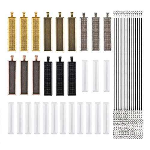 AFUNTA 15 Stks Rechthoek Hanger Trays met 15 Stks Glazen Tegels & 15 Stks Verstelbare Ketting Koord voor DIY Gifts Maken Fotografie, 5 Verschillende Kleur Hanger Trays