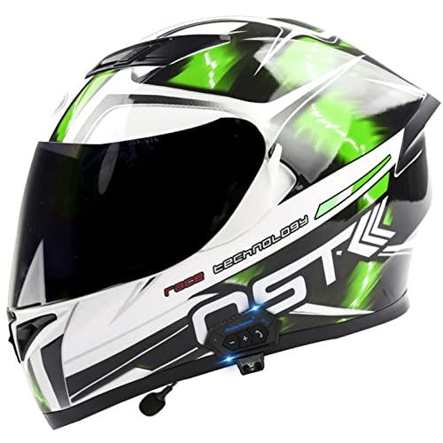 Casco Motocicleta Integrales Bluetooth Adultos Moto Cascos Dot/ECE Homologado con Doble Antiniebla Visera Sistema para Motocross Scooter Hombres Mujeres H,XL