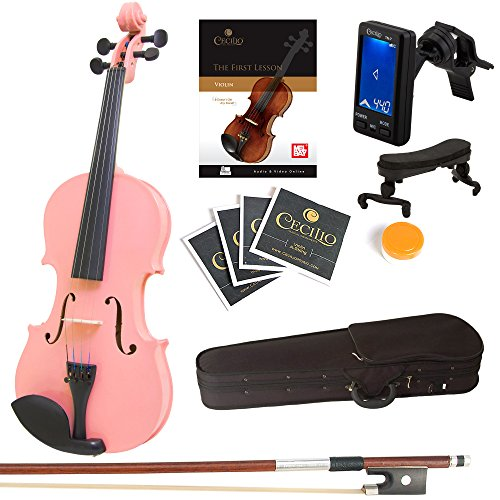 Mendini By Cecilio Violin For Kids & Adults -1/4MVMetallic PinkViolins, Student or Beginners Kit w/Case, Bow, Extra Strings, Tuner, Lesson Book - Stringed Musical Instruments