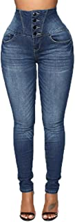 Wogo Women's Pure-color Trousers Button High Waist Stretch Jeans Pants