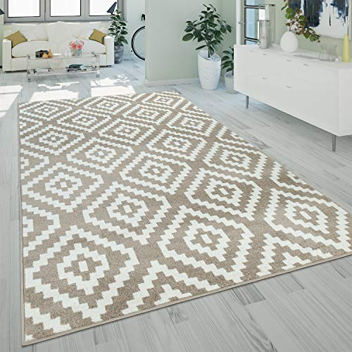 Paco Home Tapis À Poils Ras Salon Moderne 3D Géométrique Motif Losanges en Beige, Dimension:120x170 cm