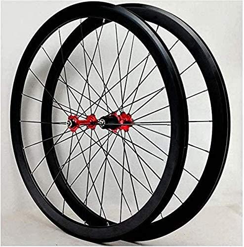Juego de ruedas para bicicleta de carretera, ruedas de aleación de doble pared 700C Freno en V Rueda delantera de 40 mm Rueda trasera Ruedas de bicicleta de carretera BMX liberación rápida para 7 8 9