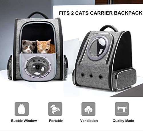 Pet Carrier Backpack for Small Dog, Space Capsule Bubble Large Cat Carrier Backpack for Kitten Travel Bag (Grey, Large Backpack)