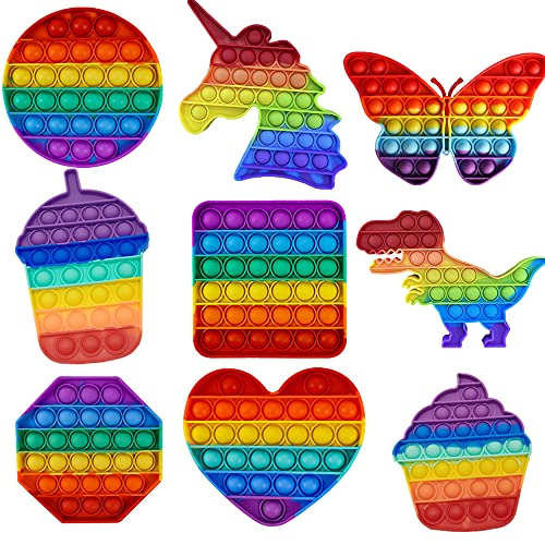 JHGFJD 9 Stück Push Fidget Toy Pop it Set Bubble sensorisches Spielzeug kit, Antistress Spielzeug für Erwachsene und Kinder, Kann den Lern- und Arbeitsstress Effektiv Abbauen, Festival Geschenk