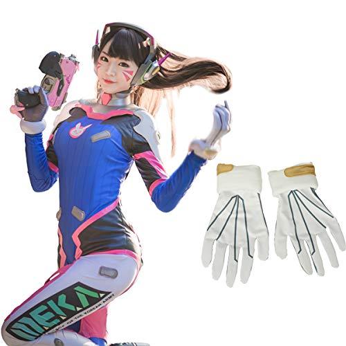 Overwatch D.Va Cosplay Kostüm Damen Hana Song Body mit Handschuhen & Rückenpolster - Blau - Medium