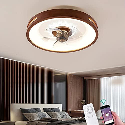 Moderna LED Madera Ventilador de Techo con Luz Regulable Lámpara de Fan con Control Remoto y APP Luz de Ventilador para Dormitorio Estudio Cuarto de los Niños Iluminación, Ajustable 3 Velocidades