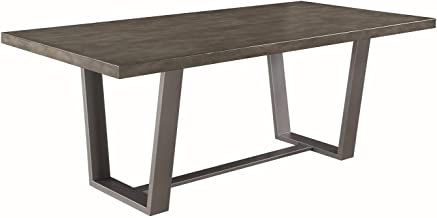 Scott Living Hutchinson Dining Table, Aged Concrete/Gunmetal
