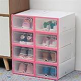 Caja de zapatos transparente Caja de almacenamiento a prueba de polvo puede ser de combinación superpuesta del gabinete de zapatos for zapatos Organizador de zapatos (Color : 33X23X14cm pink 8)