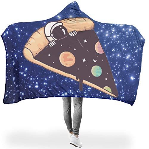 XHJQ88 Fledermausdecke Pizza NASA Muster, bedruckter Fleece-Bademantel mit Kapuze – lustiger Astronaut, universell passend für Siesta, Fleece, weiß, 50x60 inch