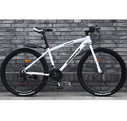 AP.DISHU Adulto Bicicleta De Carretera 26 Pulgadas Bicicleta De Carreras para Hombres con Freno De Disco Doble Bicicleta De Carretera City Utility Bike,Blanco,21 Speed