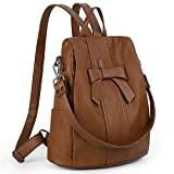 UTO Women ANTI-THEFT Backpack Purse PU Washed Leather Convertible Ladies Rucksack Bowknot Shoulder Bag Brown