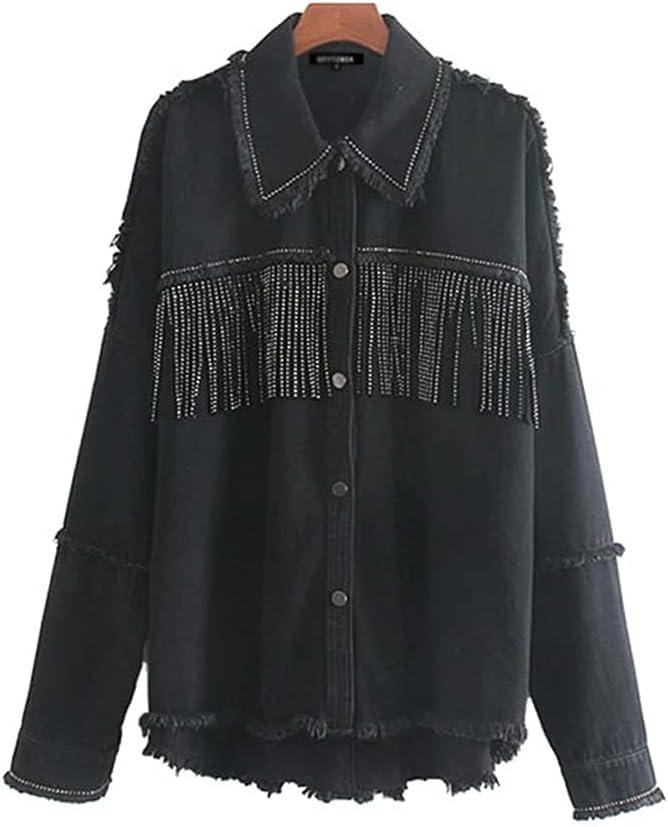 CDQYA Women Fashion Oversized Frayed with Fringe Denim Jacket Coat Vintage Long Sleeve Tassel Female Outerwear Chic Tops (Color : Black, Size : XS Code)