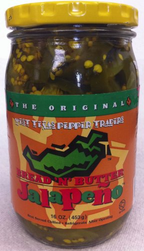 West Texas Pepper Traders Bread N' Butter Jalapeno Peppers Sliced 16oz Glass Jar (Pack of 2)