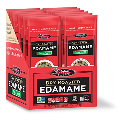 Seapoint Farms, Dry Roasted Edamame - Rich in Protein, Vegan, Gluten Free, Sea Salt Flavour - 1.58 Ounce, 12 Snack Packs
