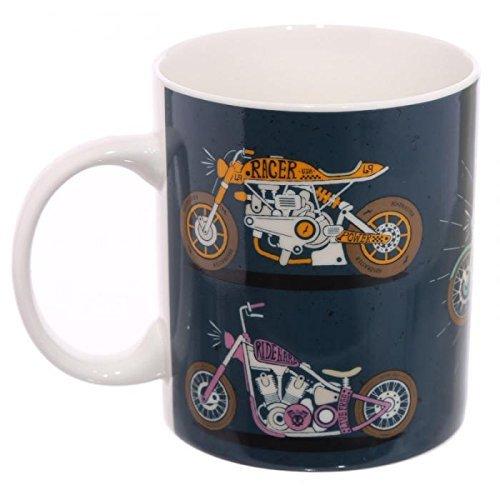 Puckator MUG246 Mug en Porcelaine tendrepar Jack Evans - Moto, Tendre, Bleu/Vert/Marron/Blanc/Gris, 11 x 7,5 x 9,5 cm