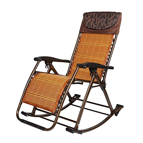 FACAZ Patio Folding Rocking Chair with Bamboo Pad for Heavy Duty People, Outdoor Portable Zero Gravity Chair w/Headrest Camping Fishing Garden Pool, Support 200kg (Color : Black)