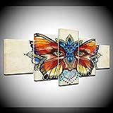 ZHFFYY Canvas Painting 5 Panel HD Baskılar Soyut Resim Ev Dekor 5 Adet Renkli Kelebek Çiçekler Gözler Boyama Duvar Sanatı Modüler Tuval Poster Çerçeve