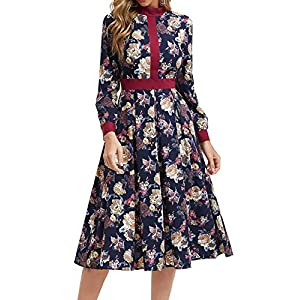 Women's Floral Vintage Midi Dress Elegant Work Dress Long Sleeve