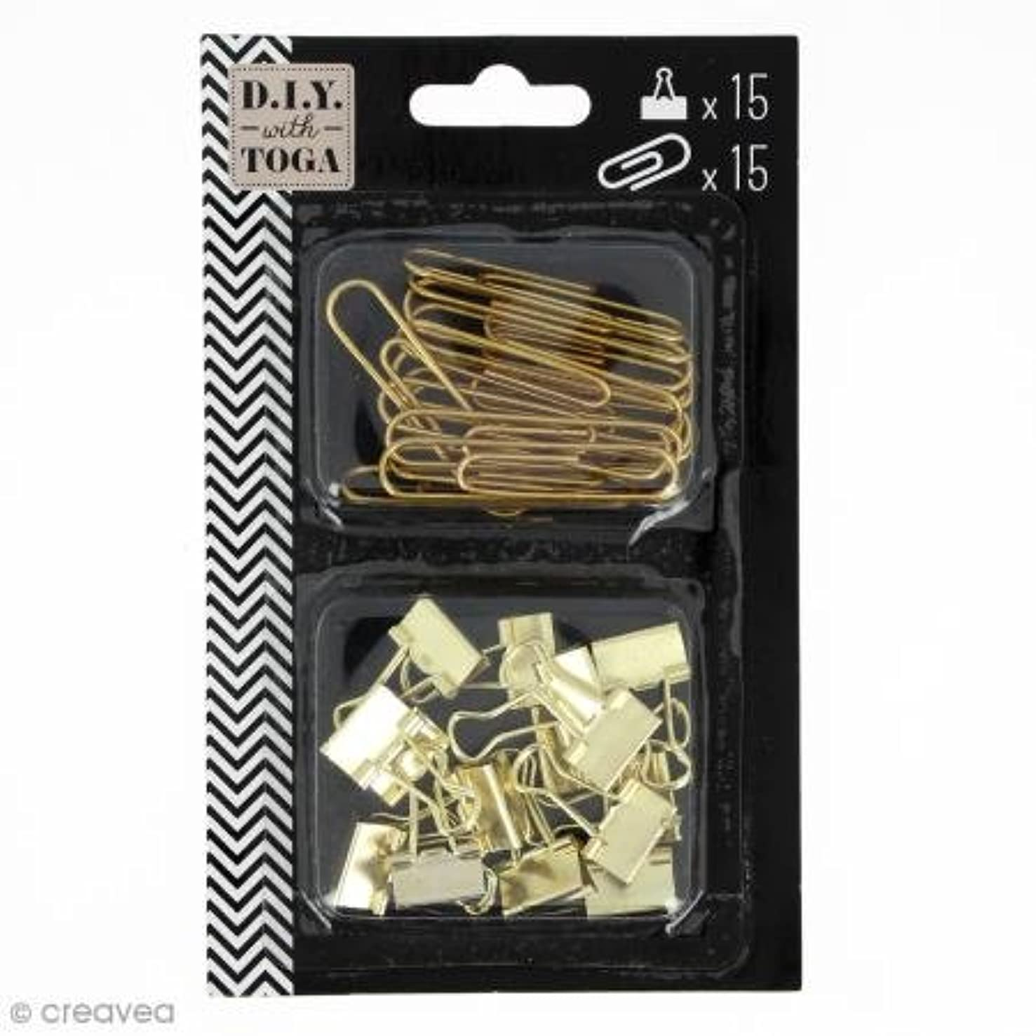 D.I.Y with Toga Maxi Pack + 15?Mini pinces-Clip Paper Clips, Metal, Gold, 1?x 0.2?x 5?inches