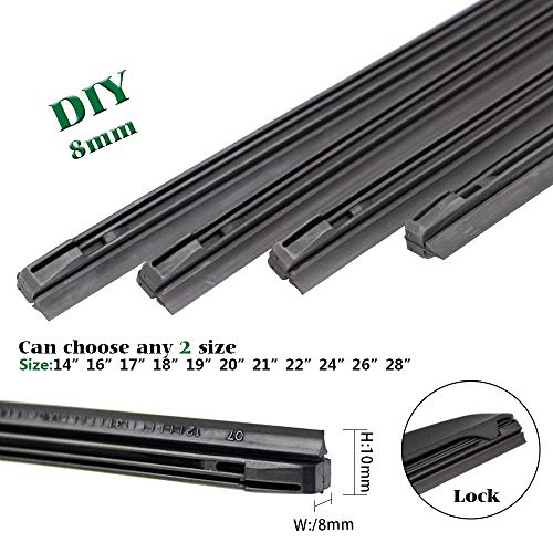 "QUALITY BEMOST Auto Car All-Season Windshield Wiper Blades Refills Natural Rubber Strips (26""+16"" Pair for front Windshield) for Hybrid Type of Wiper Blade"