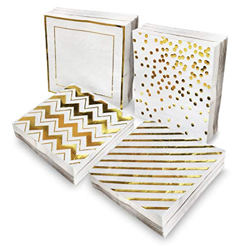 Gold Napkins 100 pack - Decorative Cocktail Napkins In 4 Assorted Foil Designs. 5 x 5 inches folded - Party Printables Ebook included (Gold)