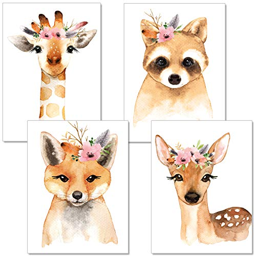 ARTpin® 4er-Set Poster Kinderzimmer Von Künstlerin - Bilder Babyzimmer - A4 Wandbilder Mädchen Junge, Deko Im Skandinavischen Stil Bunt- Kinderposter Waschbär,Giraffe, Fuchs, REH(P14)