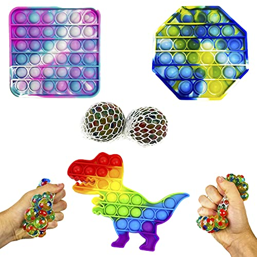 Pack 5 en 1 Pop It y Bolas Antiestrés Exprimibles para Niños y Adultos, Juguetes Sensoriales, Estimula la Fluidez Mental con su Juego (3 Pop It & 2 Bolas)