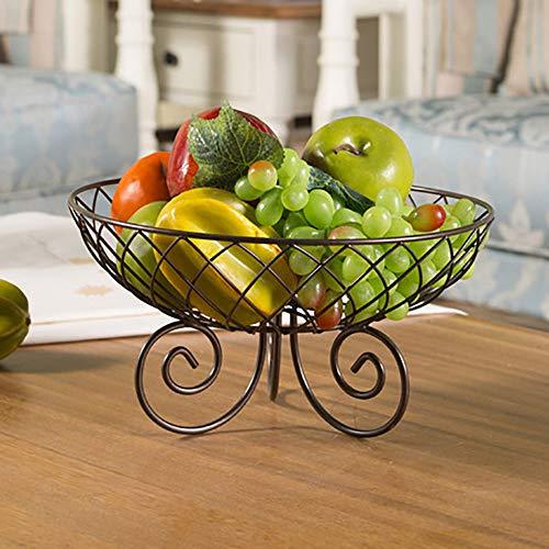 Baffect Petit panier à fruits en fer de 28 cm, bol à fruits en métal pour la cuisine, le salon, support pour fruits et légumes (cuivre)