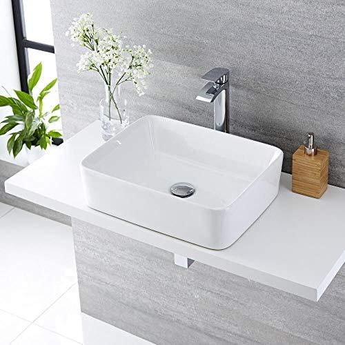 Lavabo Da Appoggio Ceramica Bianco Rettangolare Lavandino Lavello Arredo 50x39x13 Cm