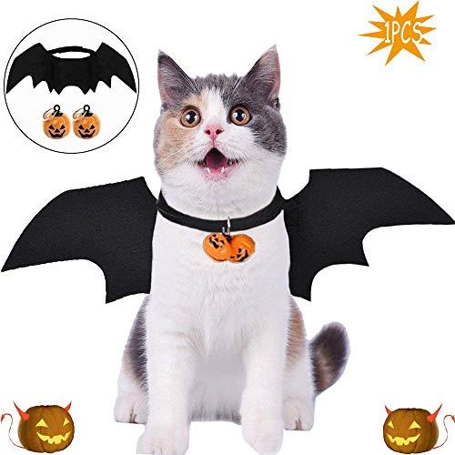 WELLXUNK Halloween Haustier Kostüm,Fledermaus Kostüm,Haustiere Cosplay-Kostüm,Katzen Kostüm,Hundekostüm,Fledermausflügel,für Haustiere Hunde und Katzen,Halloween Partys