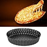 Changor Plato de Pizza para Hornear, Bandeja de Pizza Antiadherente, diseño de Colmena Redondo de Acero Altamente al Carbono y Revestimiento no Pintado de 0.7mm / 0.03in