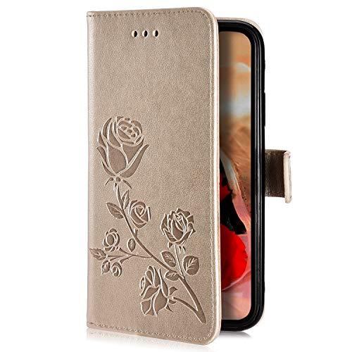Uposao para Samsung Galaxy S5 Funda,Carcasa de Cuero Cartera Billetera PU Flip Case Libro Funda con Tapa Tarjetas Cierre Magnética Función Soporte Cubierta Carcasa para Galaxy S5,Dorado