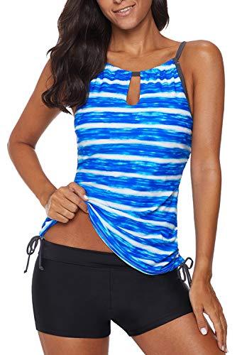 REKITA Womens Stripe Printed Tankini Top with Boyshort Swimsuits Bathing Suits Blue