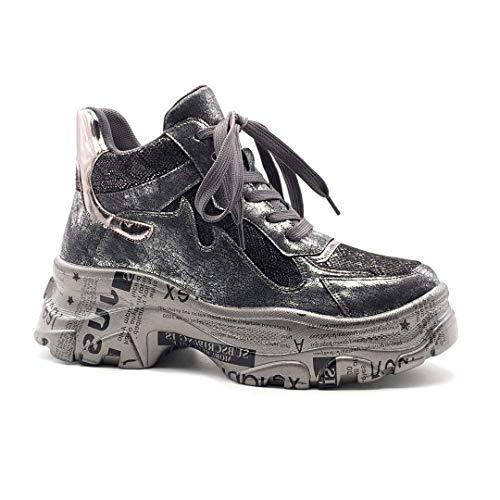 Angkorly - Damen Schuhe Sneaker - Streetwear - Sporty chic - Metall Detail - Crackle-Effekt - Schrift - Pythonschlangenhauteffekt Keilabsatz high Heel 6 cm - Silber BL275 T 38