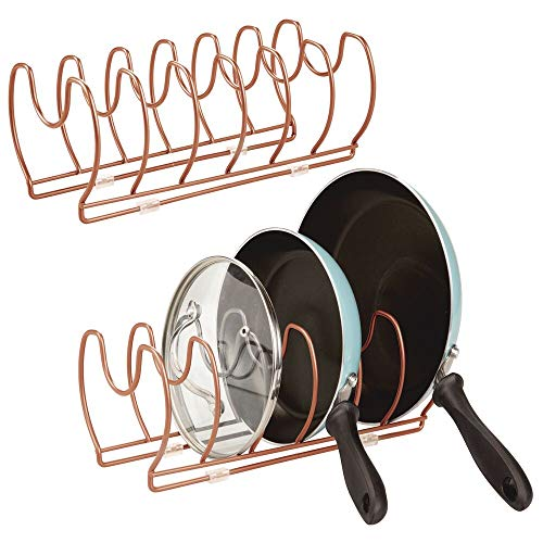 mDesign Metal Wire PotPan Organizer Rack for Kitchen Cabinet Pantry Shelves 6 Slots for Vertical or Horizontal Storage of Skillets Frying or Sauce Pans Lids Baking Stones - 2 Pack - Copper