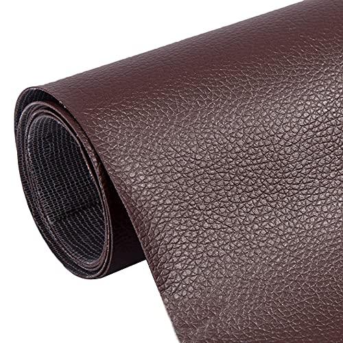レザーシール 貼るレザー合皮生地 ソファー補修テープ たくさんの色が選択できる 30cm*137cm バイクシート補修 DIY (濃い ブラウン)
