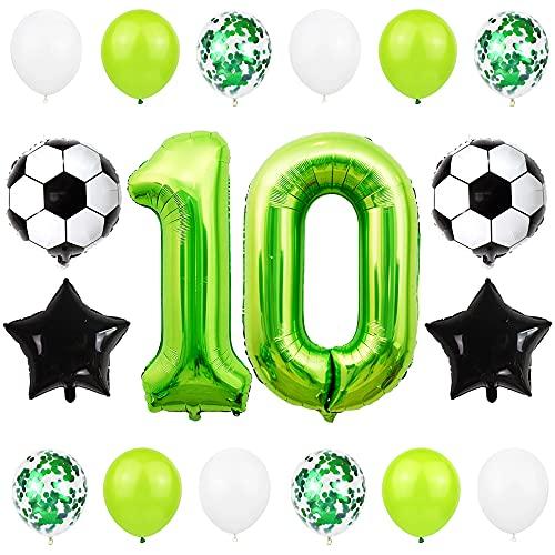 Liitata Fußball Luftballon Set 10. Geburtstag Deko 40 Zoll Zahl 10 Folienballon Grün Fussball Ballon Stern Ballon Schwarz Konfetti Luftballons für Kinder Junge Geburtstag Party Fußball Party Deko