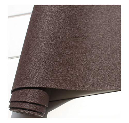 Tela de Polipiel for Tapizar Eco-Cuero Imitación Tela de Imitación de Cuero Cuero Sintético, Material de Tacto Suave, Tela de Imitación de Ancho 137cm Tejido de Piel sintética-Black-brown 1.38x9m