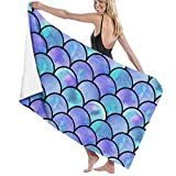 Ewtretr Toalla de Playa Sparkling Mermaid Scales Microfiber Beach Towels Quick Dry Super Absorbent Bathing SPA Pool Towels for Swimming & Outdoor, 31'x 51'