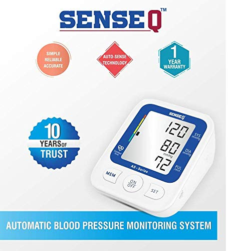 SenseQ High Accuracy Blood Pressure Monitor / Gauge with WHO classified Indicator